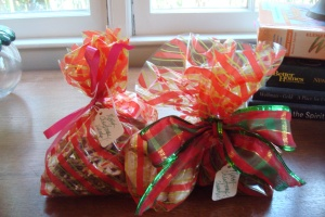 Peppermint Bark bagged and ready to be delivered.